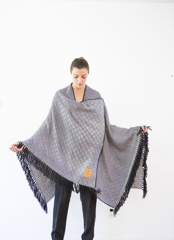 Machine washable warm cozy and soft alpaca blend poncho shawl cape neutral black white
