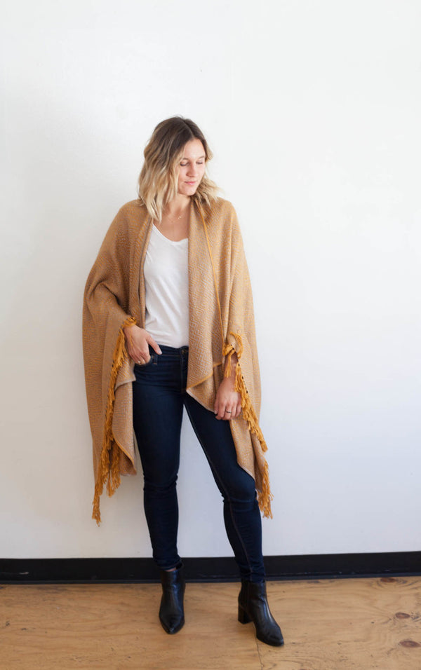 Machine washable warm cozy and soft alpaca blend poncho shawl cape neutral mustard yellow gold
