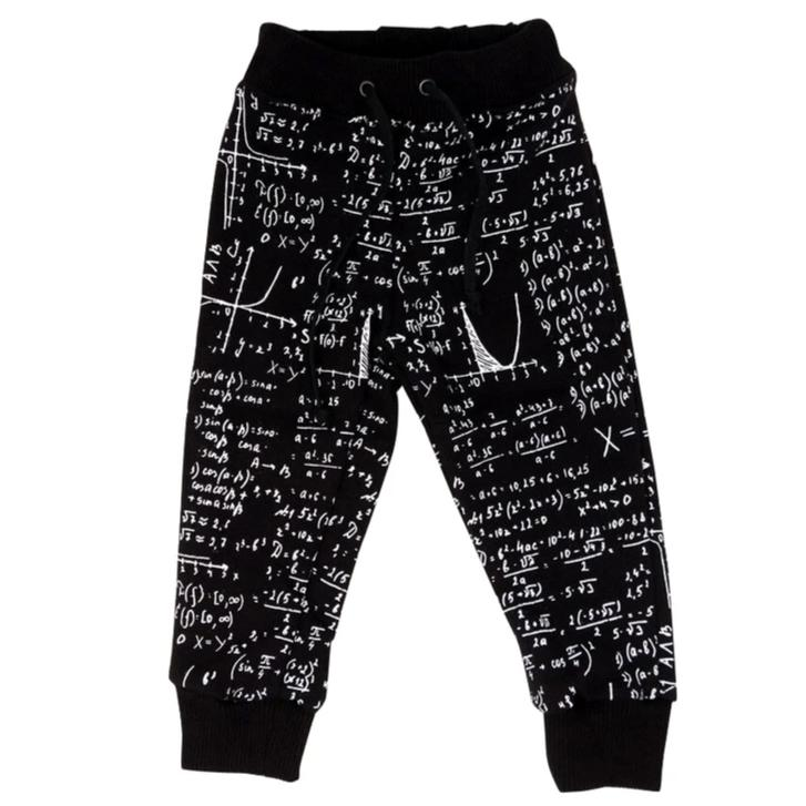 black and white Math print baby and kids winter fleece sweatpants for teachers, scientists, engineers and nerds