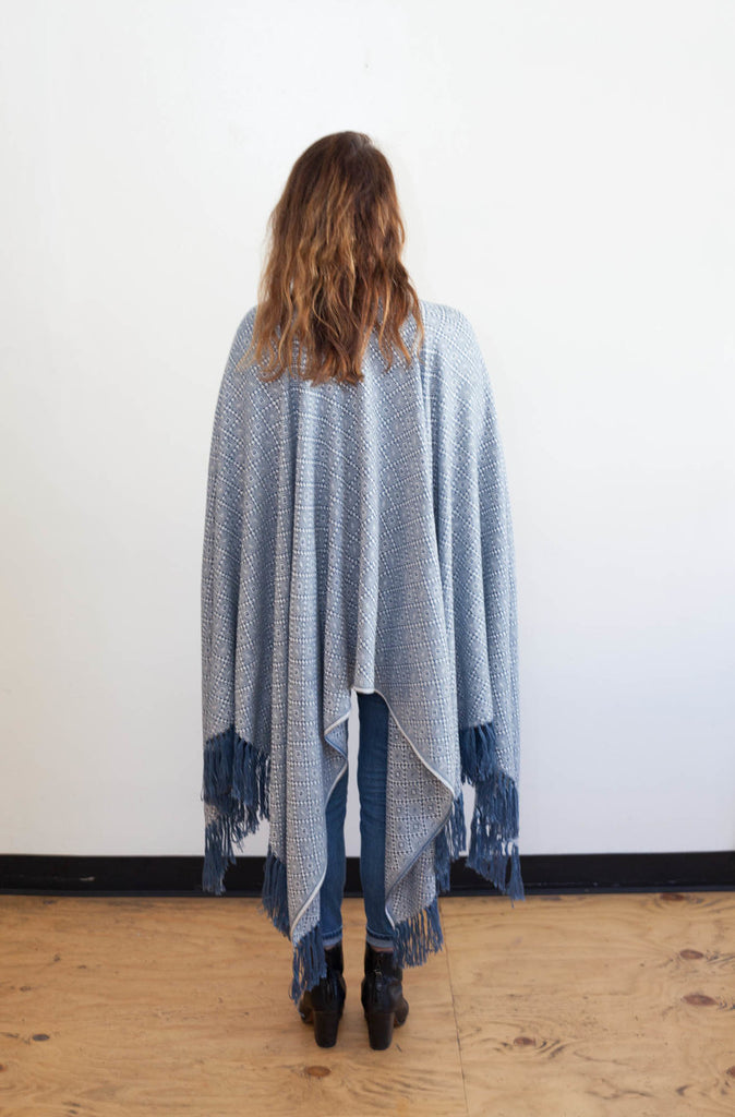 Machine washable warm cozy and soft alpaca blend poncho shawl cape neutral blue white