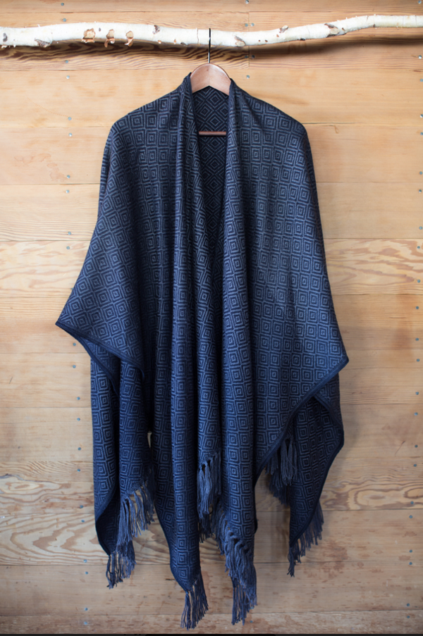 Machine washable warm cozy and soft alpaca blend poncho shawl cape neutral navy blue grey gray