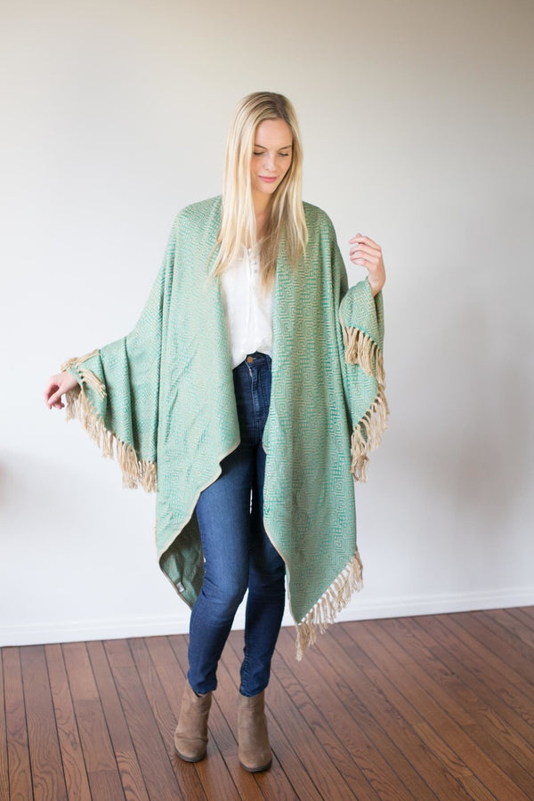 Machine washable warm cozy and soft alpaca blend poncho shawl cape neutral seafoam green teal mint