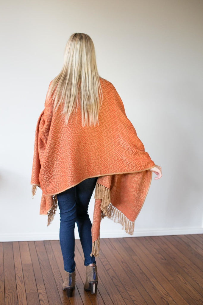 Machine washable warm cozy and soft alpaca blend poncho shawl cape neutral burnt orange