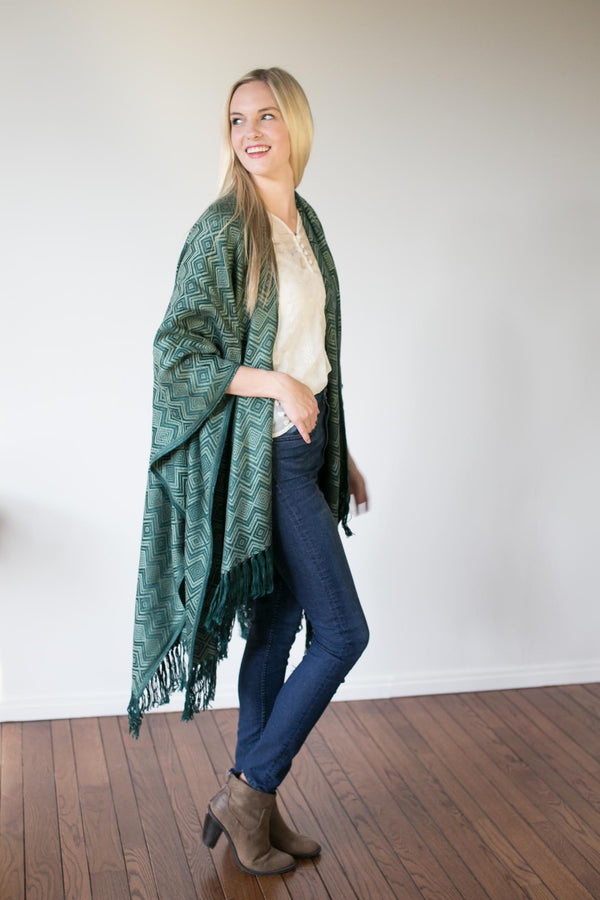 Machine washable warm cozy and soft alpaca blend poncho shawl cape green