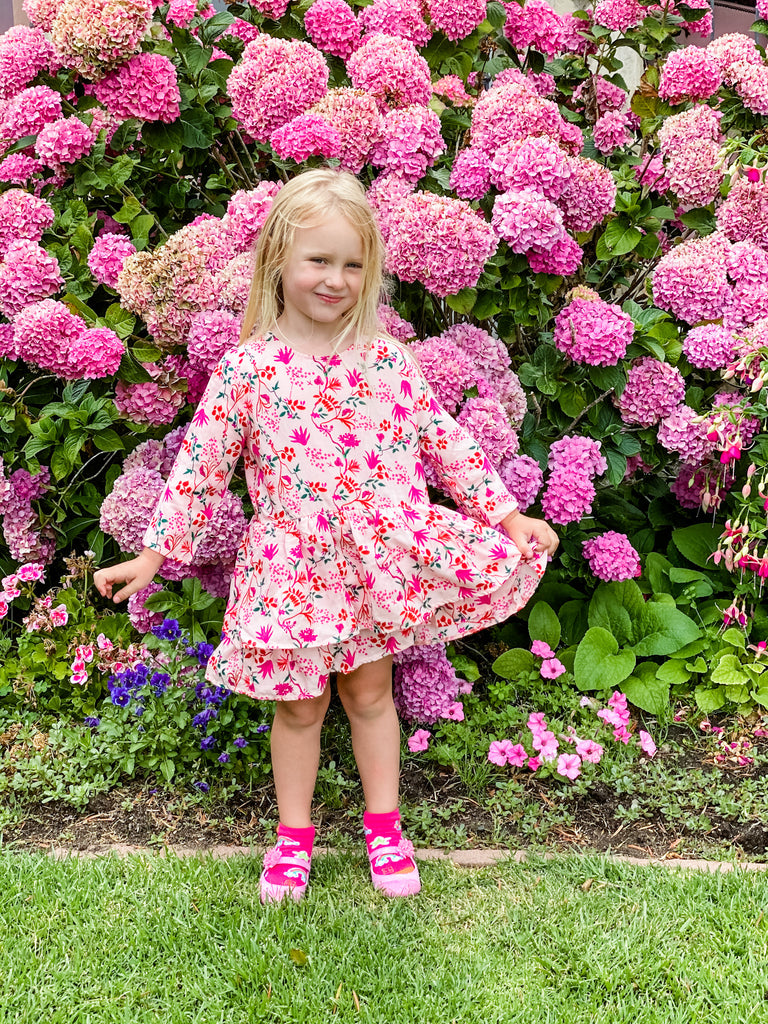pink floral 3/4 length cotton dress for toddlers and girls