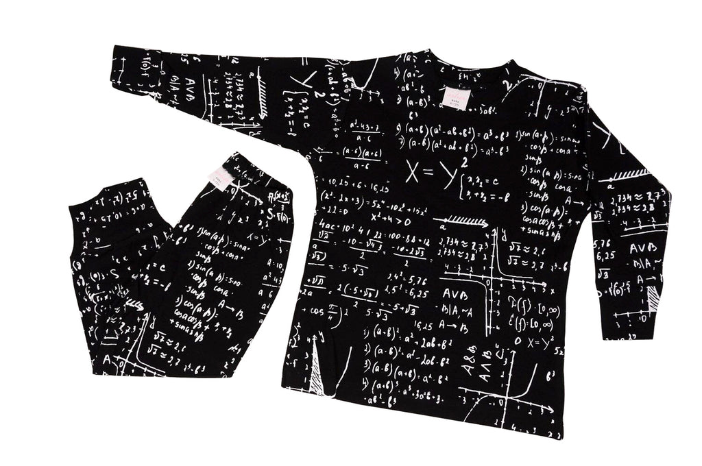 black and white Math print baby and kids pajama sets loungewear for teachers, scientists, engineers and nerds