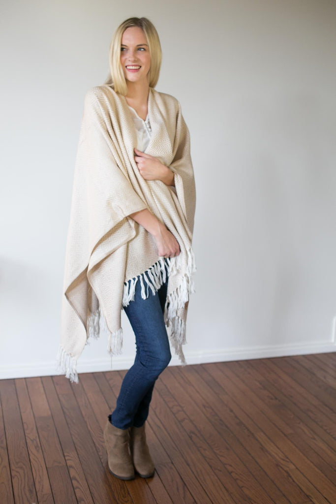 Machine washable warm cozy and soft alpaca blend poncho shawl cape neutral cream white Malibu