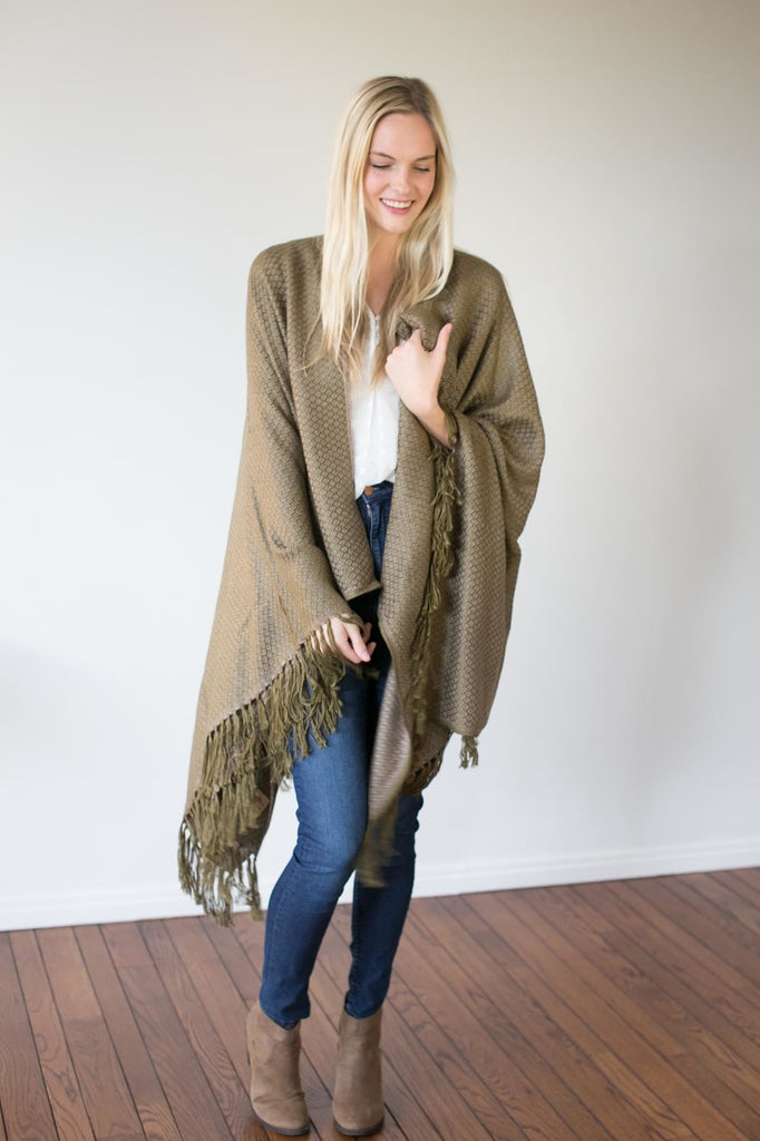 Machine washable warm cozy and soft alpaca blend poncho shawl cape neutral army green