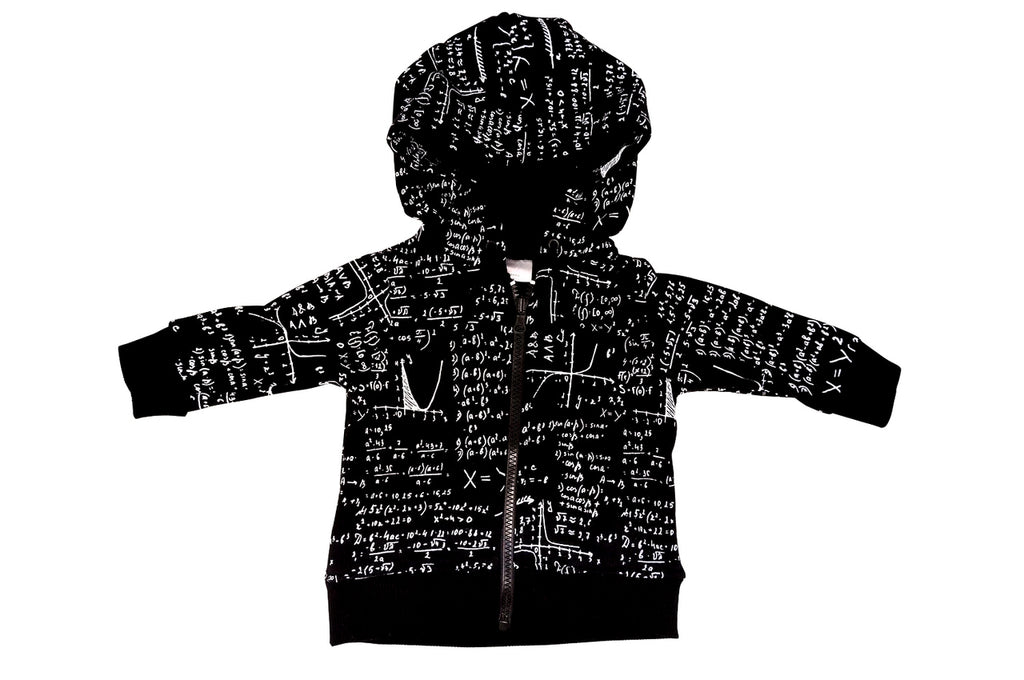 black and white Math print children's, kids and babies hoodie zipper sweatshirt for teachers, scientists, engineers and nerds