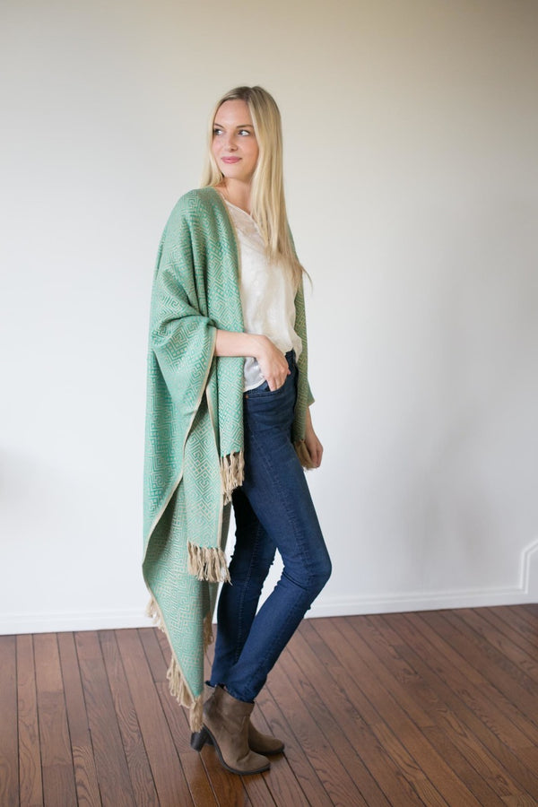 Machine washable warm cozy and soft alpaca blend poncho shawl cape neutral seafoam green teal