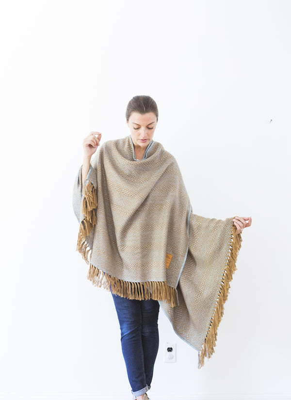Machine washable warm cozy and soft alpaca blend poncho shawl cape neutral light blue brown