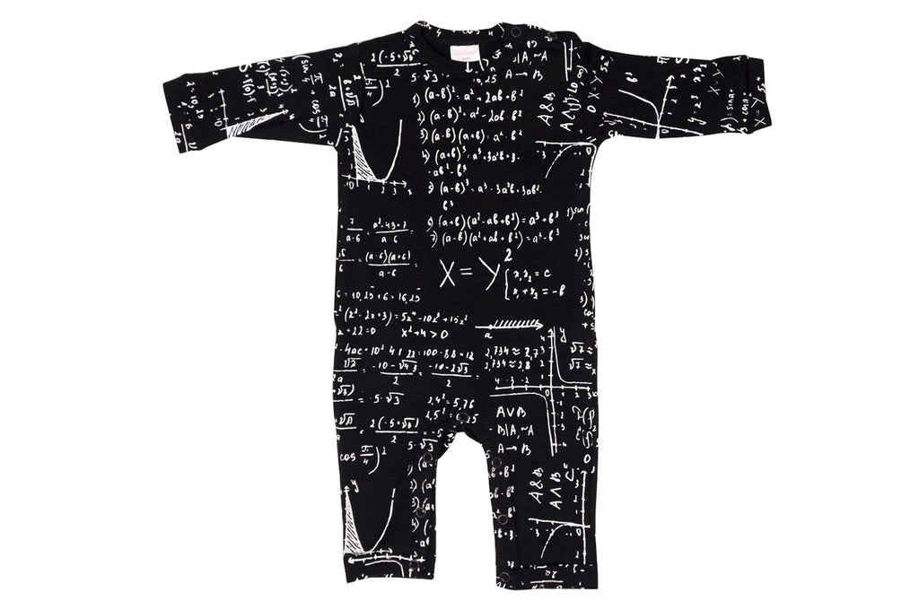 black and white Math print baby onesie playsuit romper for teachers, scientists, engineers and nerds