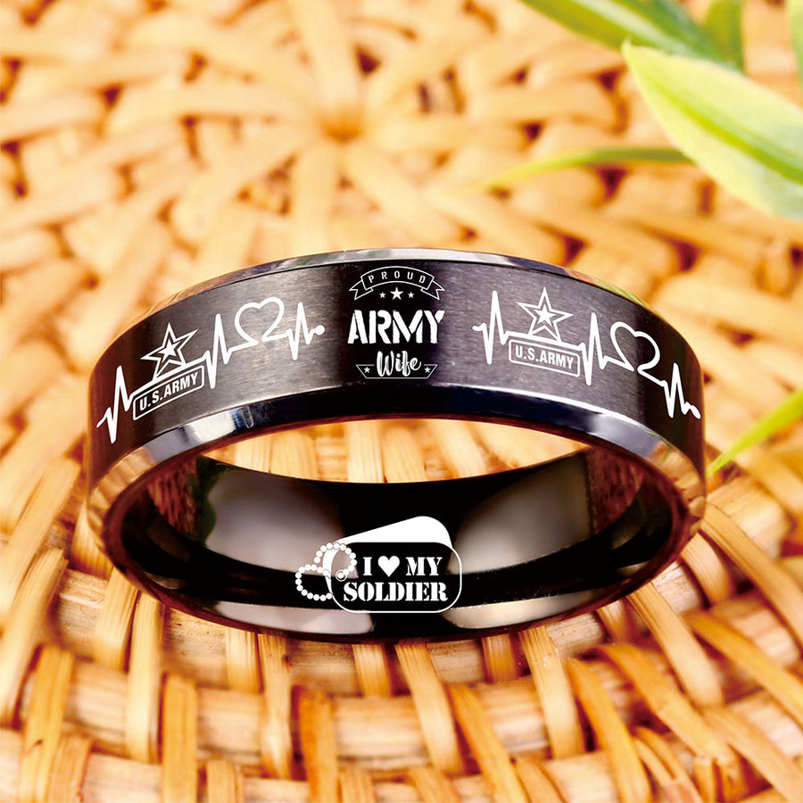 Today 70% Off Proud Army Wife Titanium Ring freeshipping - TheRisenEagle