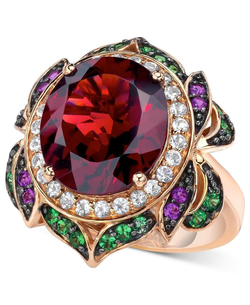Le Vian Crazy Collection® Garnet (7-5/8 ct. t.w.) and Multi-Stone Round Flower Ring in 14k Rose Gold (Also Available in London Blue Topaz) (5287571554459)
