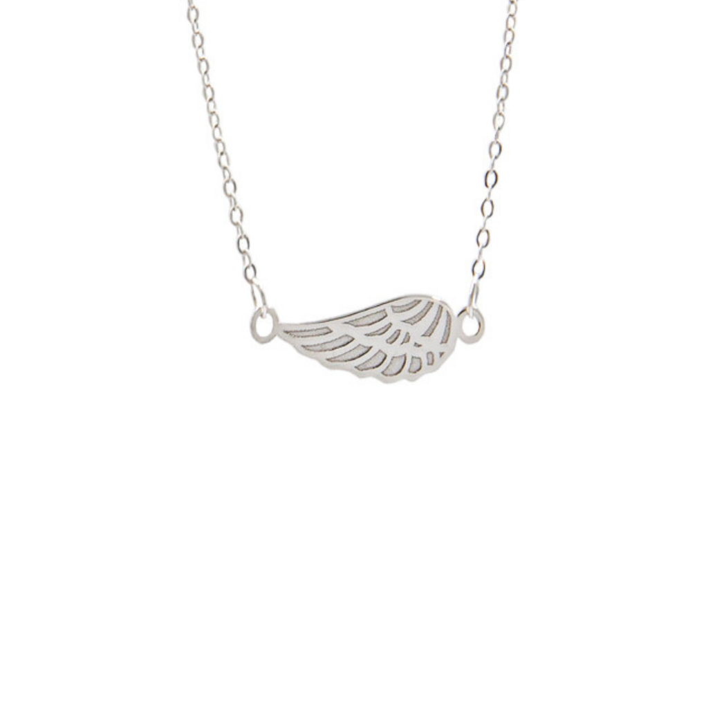 14K White Gold Sideways Angel Wing 18
