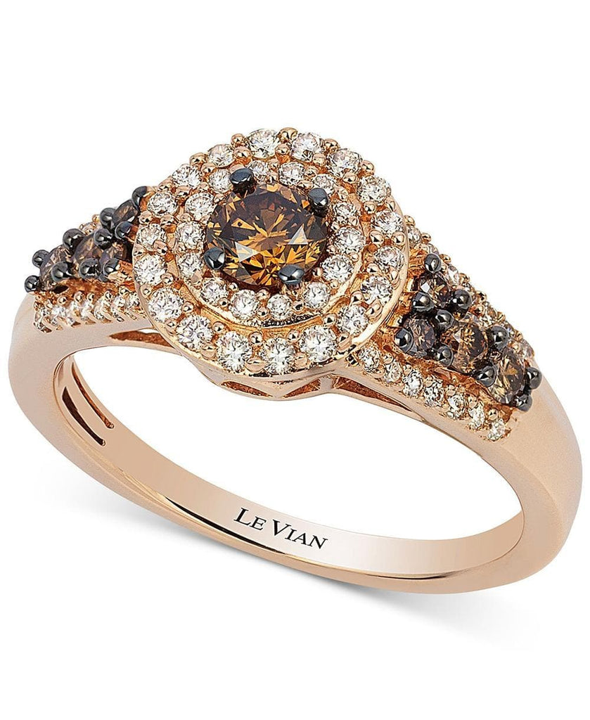 Le Vian Chocolatier® Chocolate Diamond and White Diamond Halo Ring (3/4 ct. t.w.) in 14k Rose Gold (5287571259547)