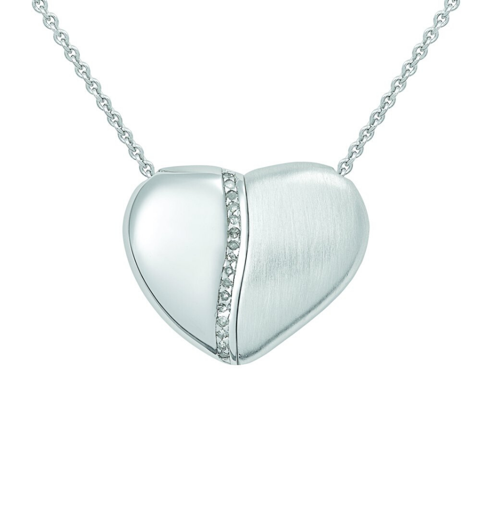 PETRA AZAR - RIVER OF LOVE - Magnetic Sterling Silver Heart Necklace With Diamonds (4997517738028)