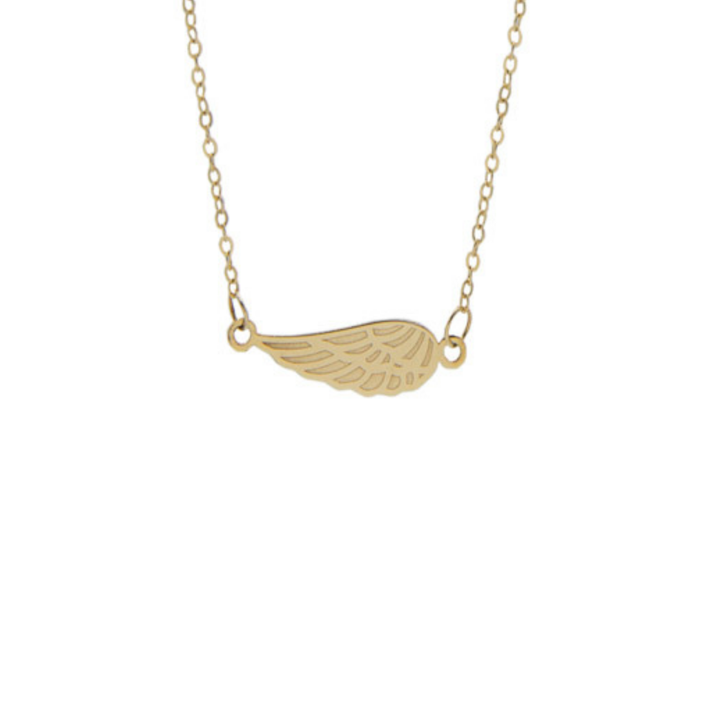 14K Yellow Gold Sideways Angel Wing 18