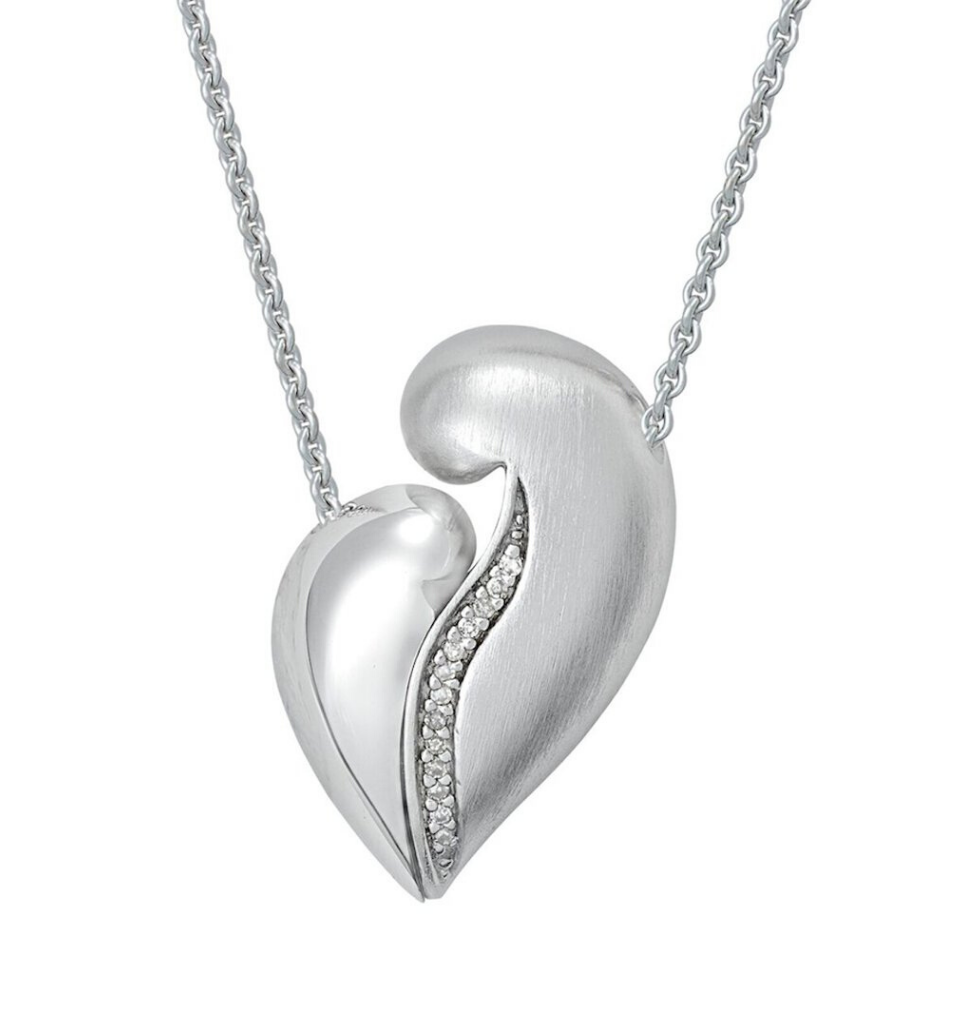 PETRA AZAR - NO GREATER LOVE - Magnetic Sterling Silver Necklace With Diamonds (4997387386924)