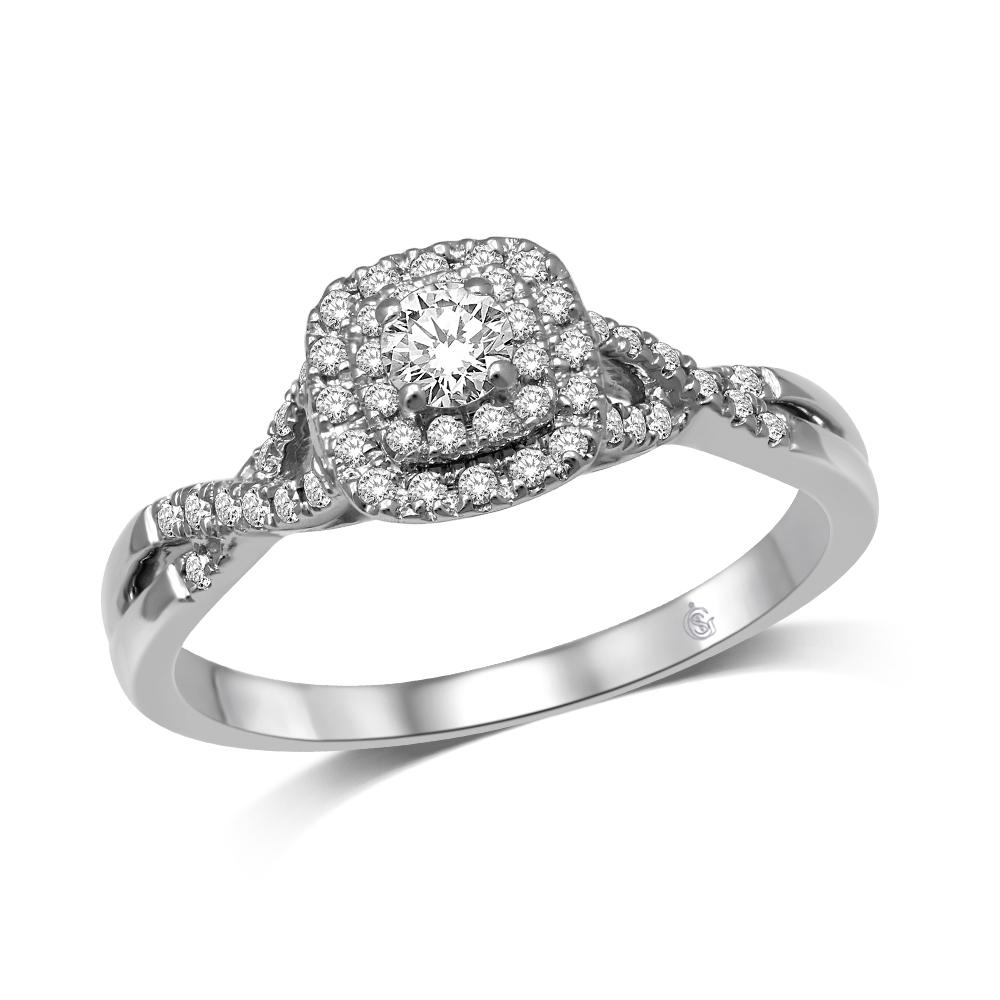 14K White Gold 1/3 Ctw Diamond Twisted Shank Engagement Ring (5249078100123)