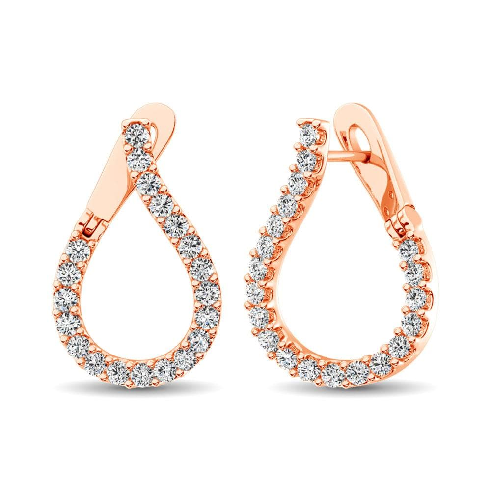 14K Rose Gold Diamond 5/8 Ct.Tw. Hoop Earrings (5242660028571)
