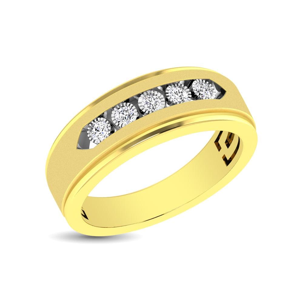 10K Yellow Gold 1/6 Ct.Tw. Diamond Illusion Mens Band (5242660257947)