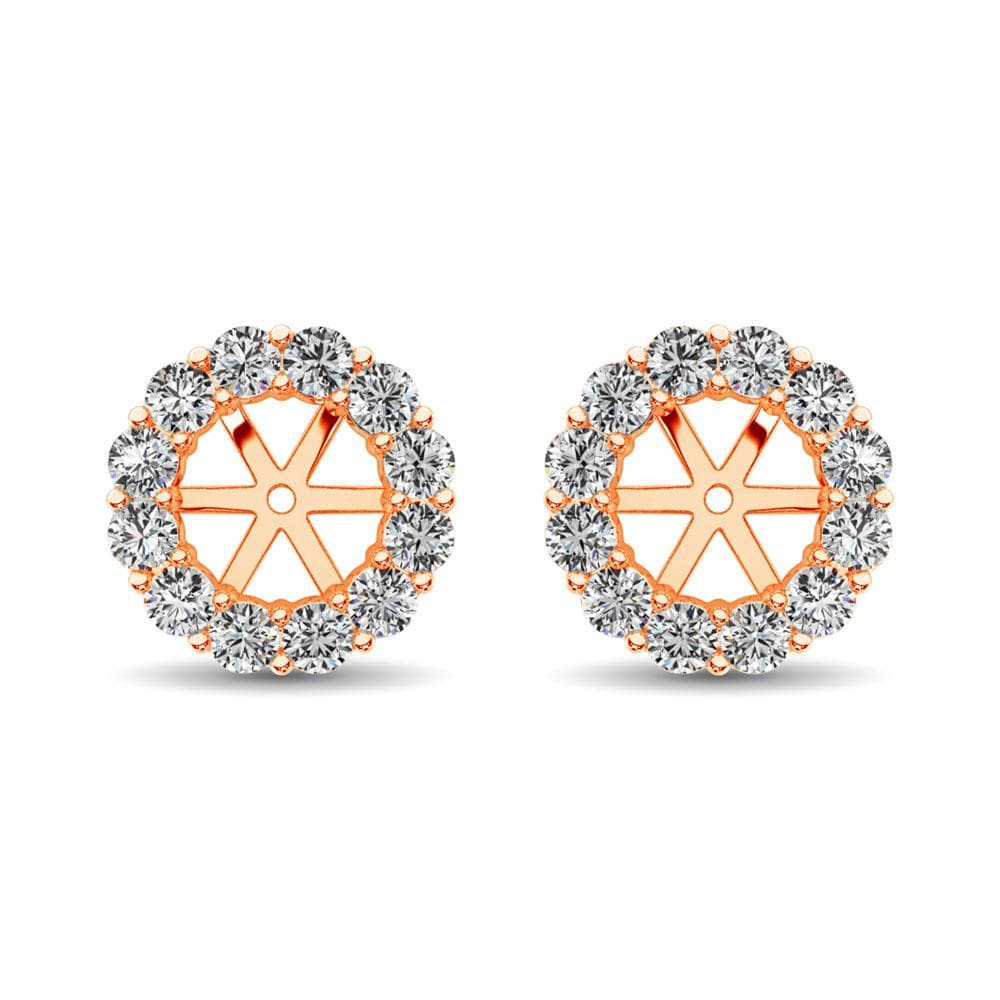 14K Rose Gold Diamond 1/2 Ct.Tw. Earrings Jacket (5242660126875)