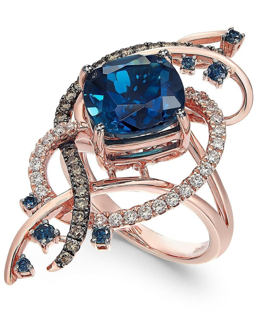 Le Vian Exotics® Deep Sea Blue Topaz™ (5-3/8 ct. t.w.) and Diamond (3/4 ct. t.w.) Ring in 14k Rose Gold (5303083368603)