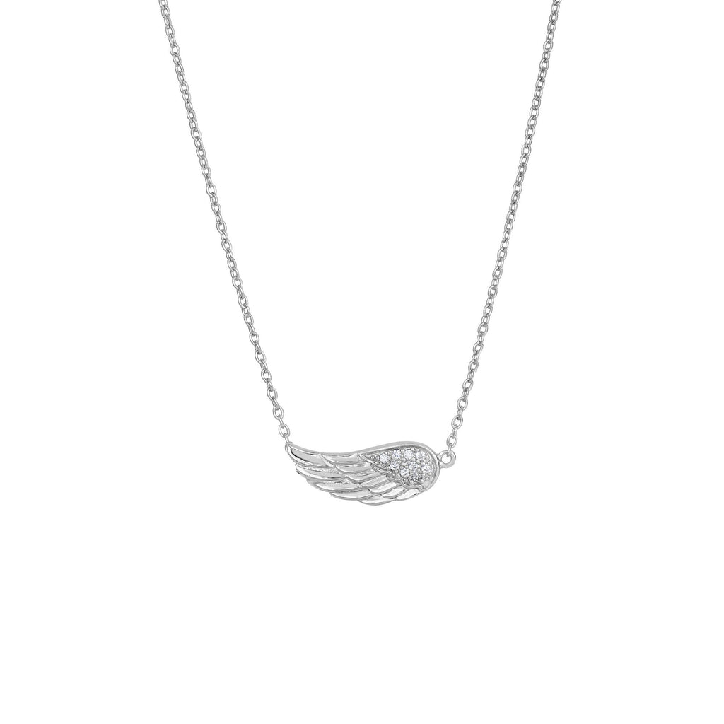 Silver 18 inches Rhodium Finish Shiny 7-1.2mm White Cubic Zirconia Single Wing Element Anchor On 1.2mm Cable Link Fancy Necklace with Lobster Clasp (5688358207643)