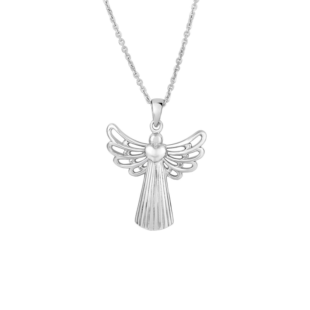 Silver with Rhodium Finish 31X24mm Open Wing Angel Fancy Pendant On 18 inches Silver 1.4mm Cable Chain with Lobster Clap (5688358011035)