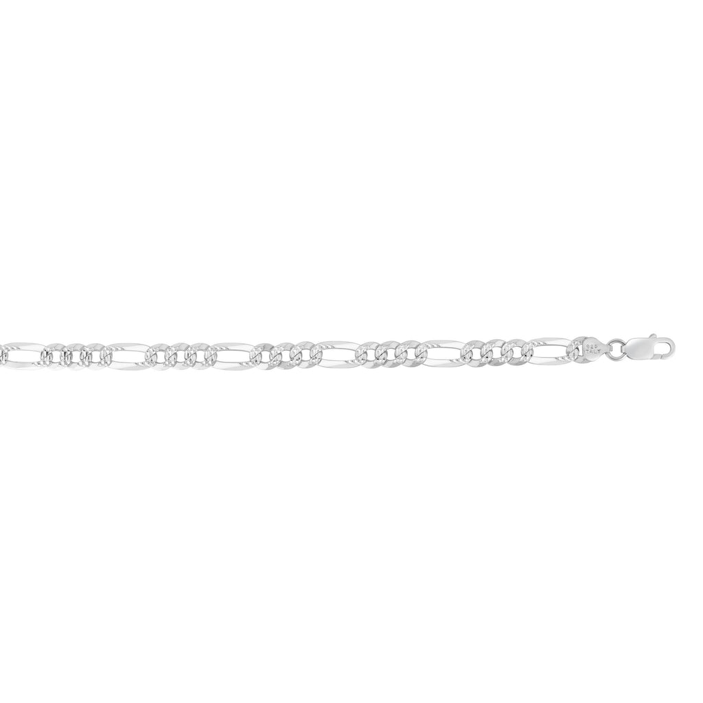 Silver 8.5 inches with Rhodium Finish 8.1mm Polished Classic Pave Figaro Chain with Lobster Clasp (5688358469787)