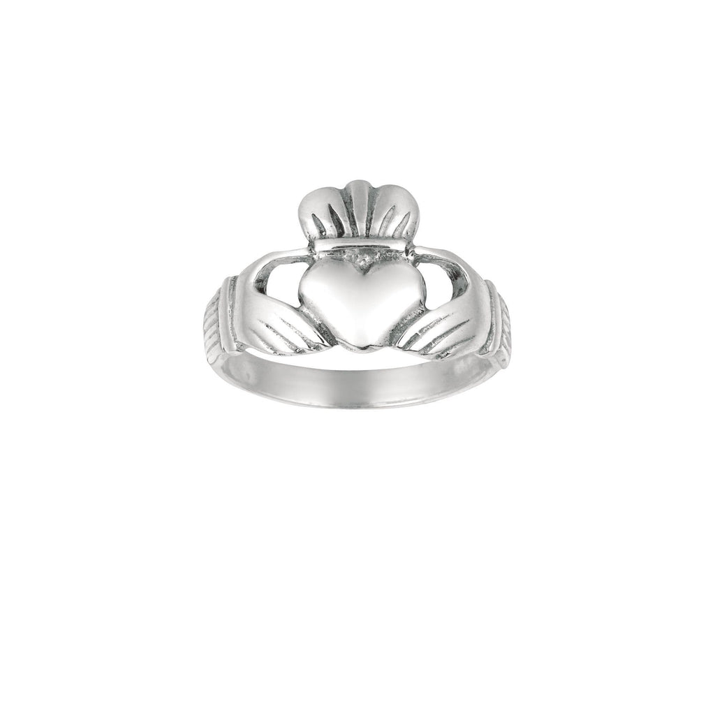 Silver with Rhodium Finish 2.60mm Shiny Claddagh Size 7 Ring (5688347525275)