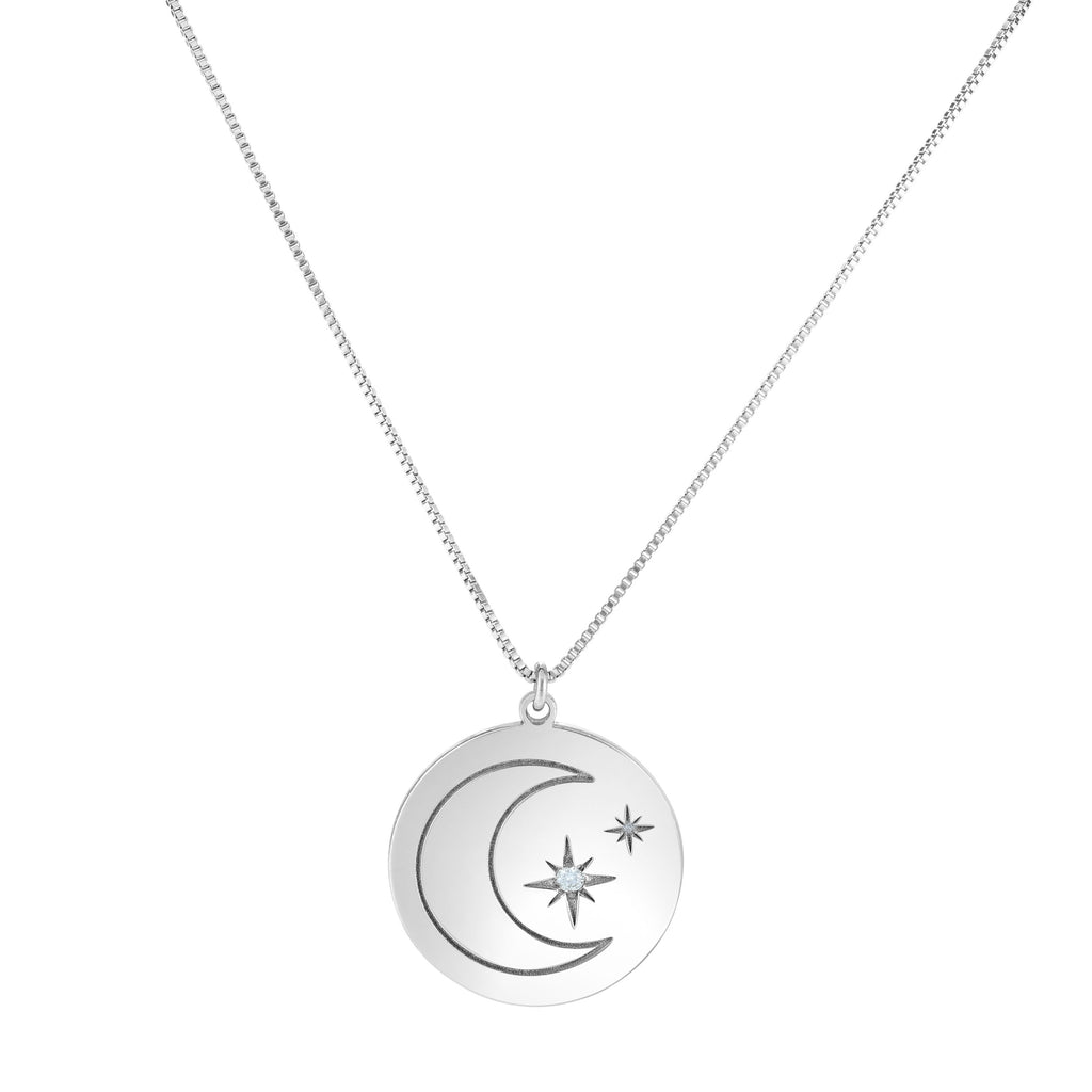 Silver 18 inches with Rhodium Finish 20.7mm(CE),0.7mm(Ch) Polished Round 2 inches Extender Star & Moon Necklace with Lobster Clasp with 0.0300ct 2mm White Diamond (5688357388443)