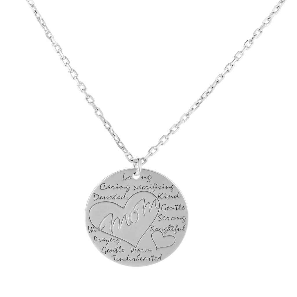 Silver 18 inches with Rhodium Finish 22mm(CE),1.4mm Polished Round 2 inches Extender Mother Necklace with Spring Ring Clasp (5688357519515)