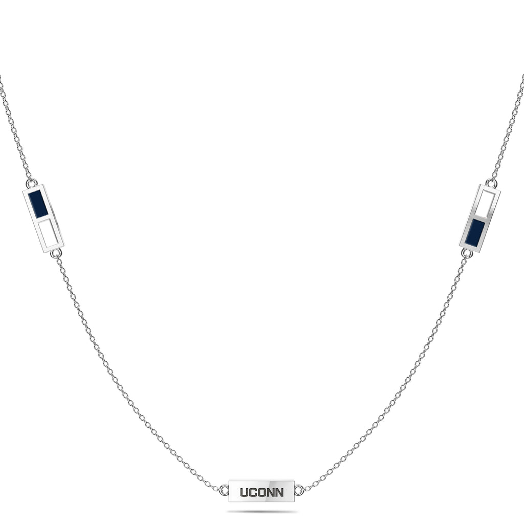 UCONN Triple Station Necklace in Sterling Silver (5993447522459)