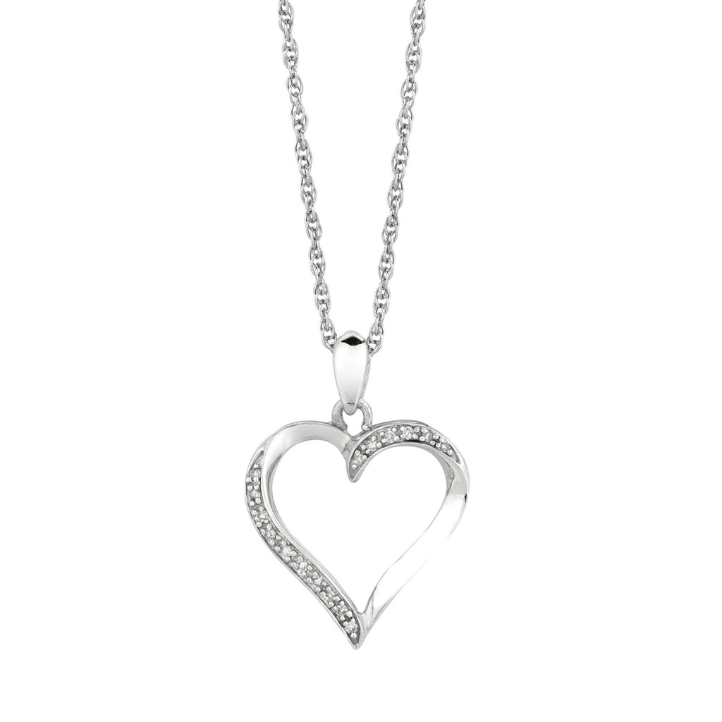 Silver 18 inches Rhodium Finish Shiny 1.1mm Cable Chain with Lobster Clasp+0.05Ct Diamond Fancy Open Heart Pendant (5688356634779)