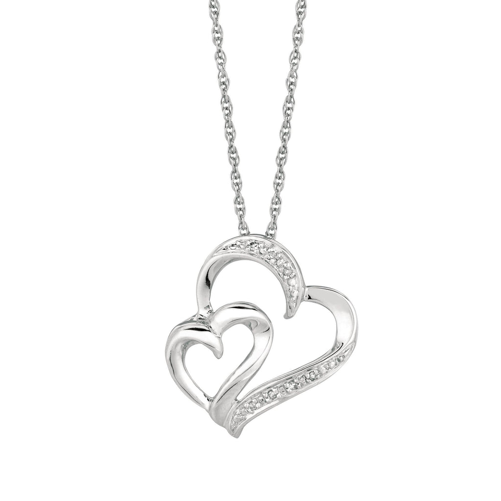 Silver 18 inches Rhodium Finish Shiny 1.1mm Cable Chain with Lobster Clasp+0.03Ct White Diamond One Small+One Large Open Heart Pendant (5688356536475)