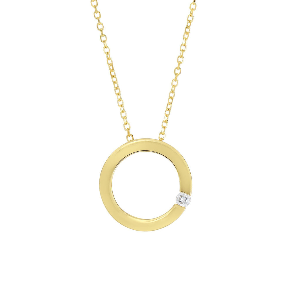 14kt Yellow Gold Shiny 9.7mm Open Square Pendant with 1 Stone 0.03 Ct Round Faceted H+I1 Quality White Diamond (5688355946651)