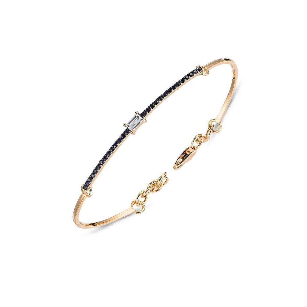 Own Your Story Diamond Baguette and Sapphire Bracelet (5358077149339)