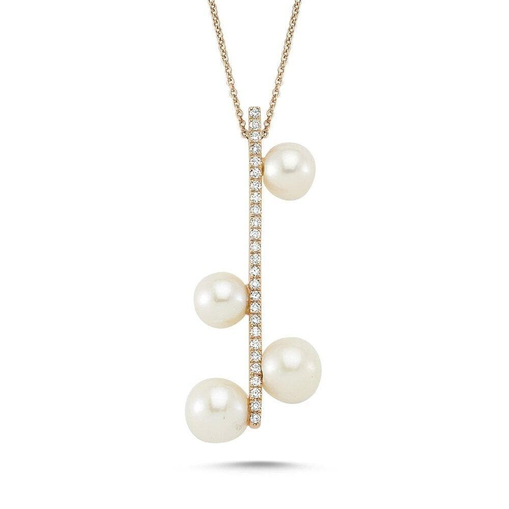 Own Your Story Pavé Bar Pearl Droplet Necklace (5358076887195)