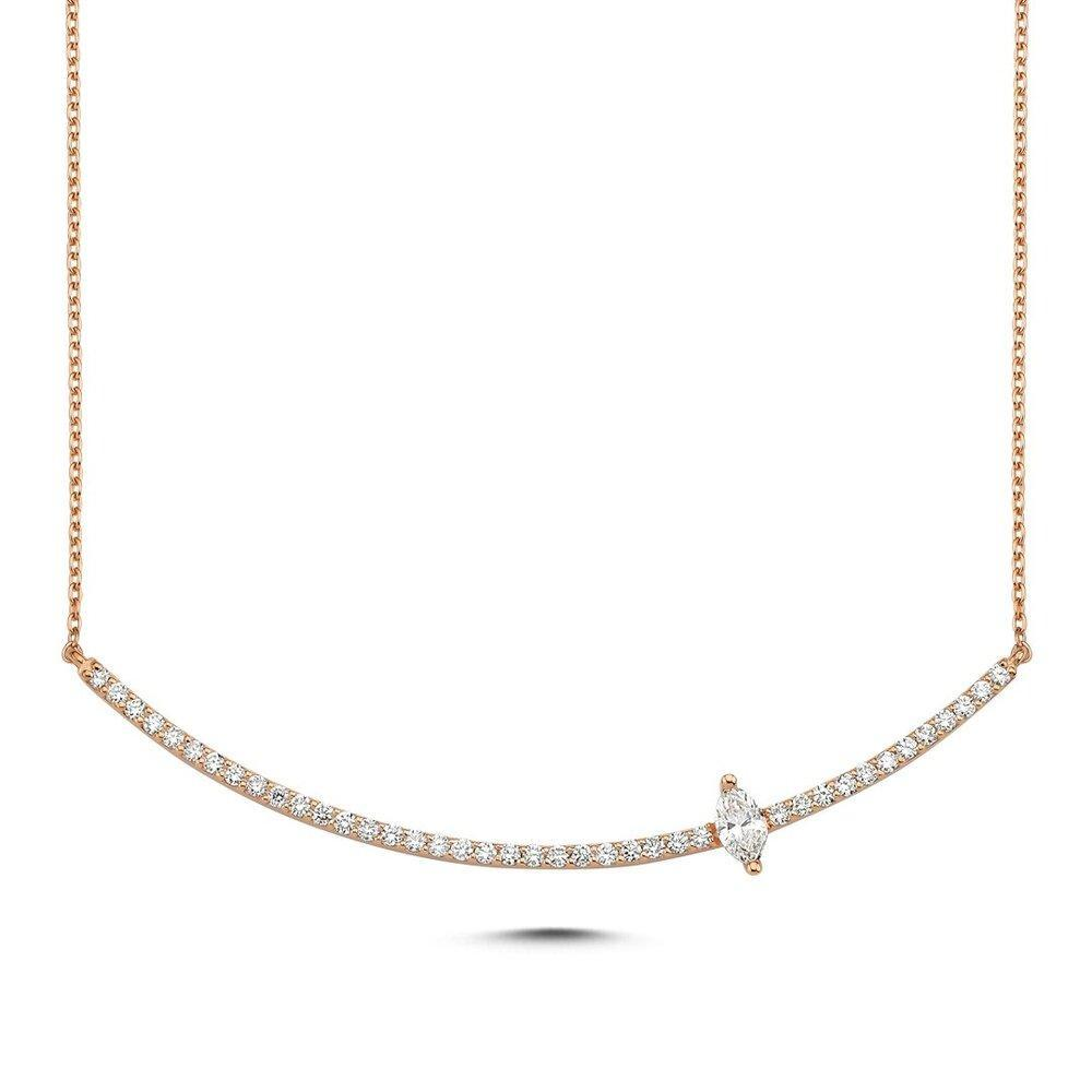 OWN Your Story 14K Gold Marquise Diamond Linear Necklace (5358081147035)