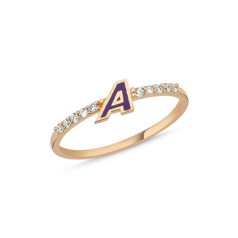 OWN Your Story 14K Gold Diamond Enamel Initial Rings (5358080524443)