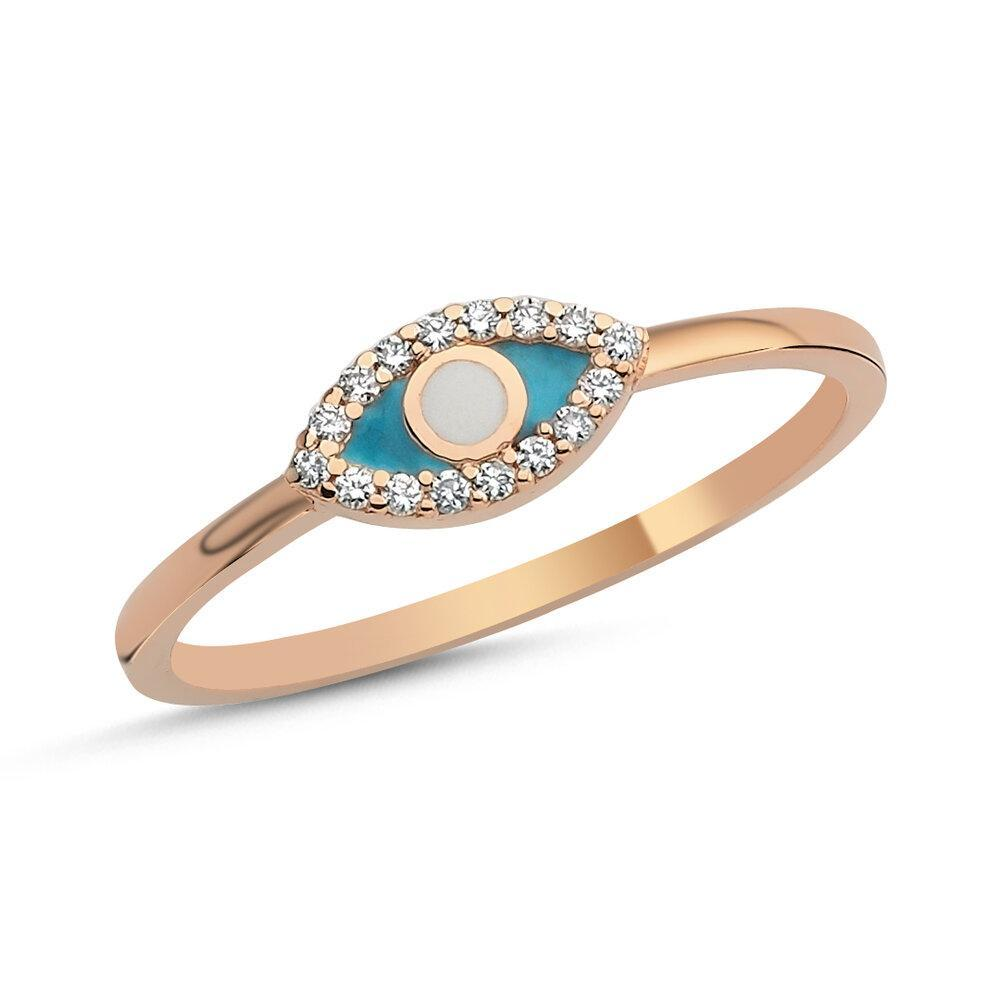 OWN Your Story 14K Gold Diamond Enamel Evil Eye Ring (5358080786587)