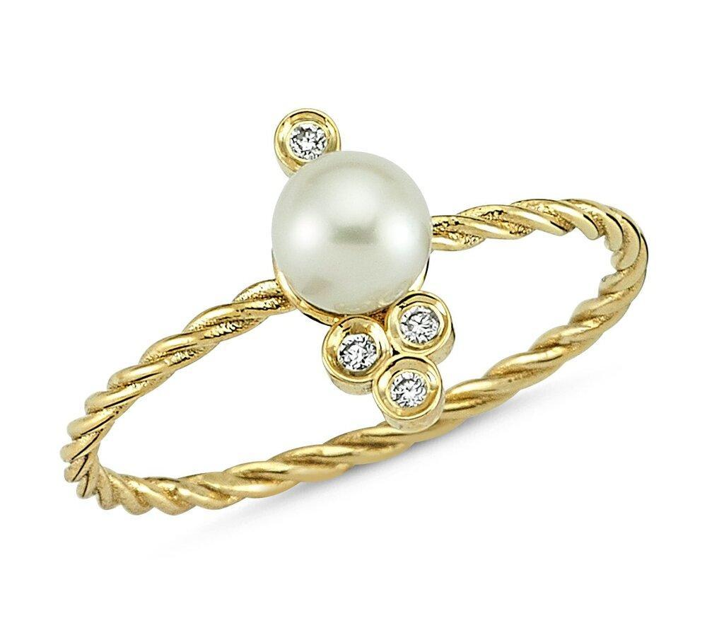OWN Your Story 14K Gold Nirvana Diamond and Pearl Cable Ring (5358079639707)