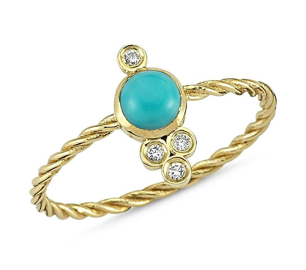 OWN Your Story 14K Gold Nirvana Diamond and Turquoise Cable Ring (5358079410331)