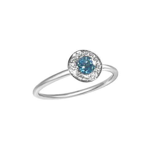 Matthia's & Claire 18k white gold Blue Topaz birthstone ring with white diamonds (5383510130843)
