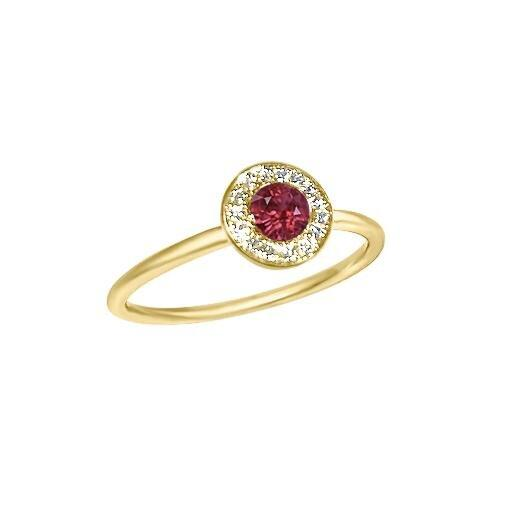 Matthia's & Claire Gemstone Ring with Garnet and White Diamond Pavé (5383510491291)