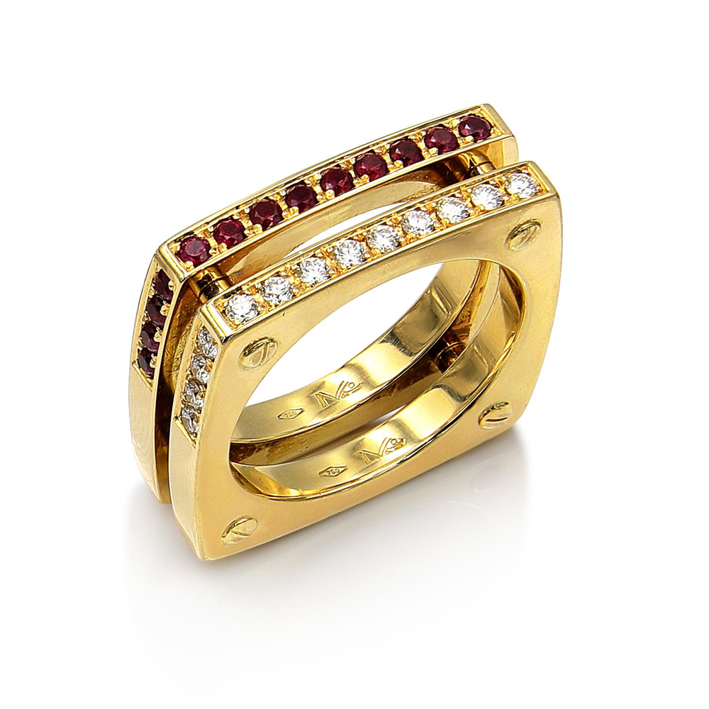 Matthia's & Claire Cube Double Ring (5383511703707)