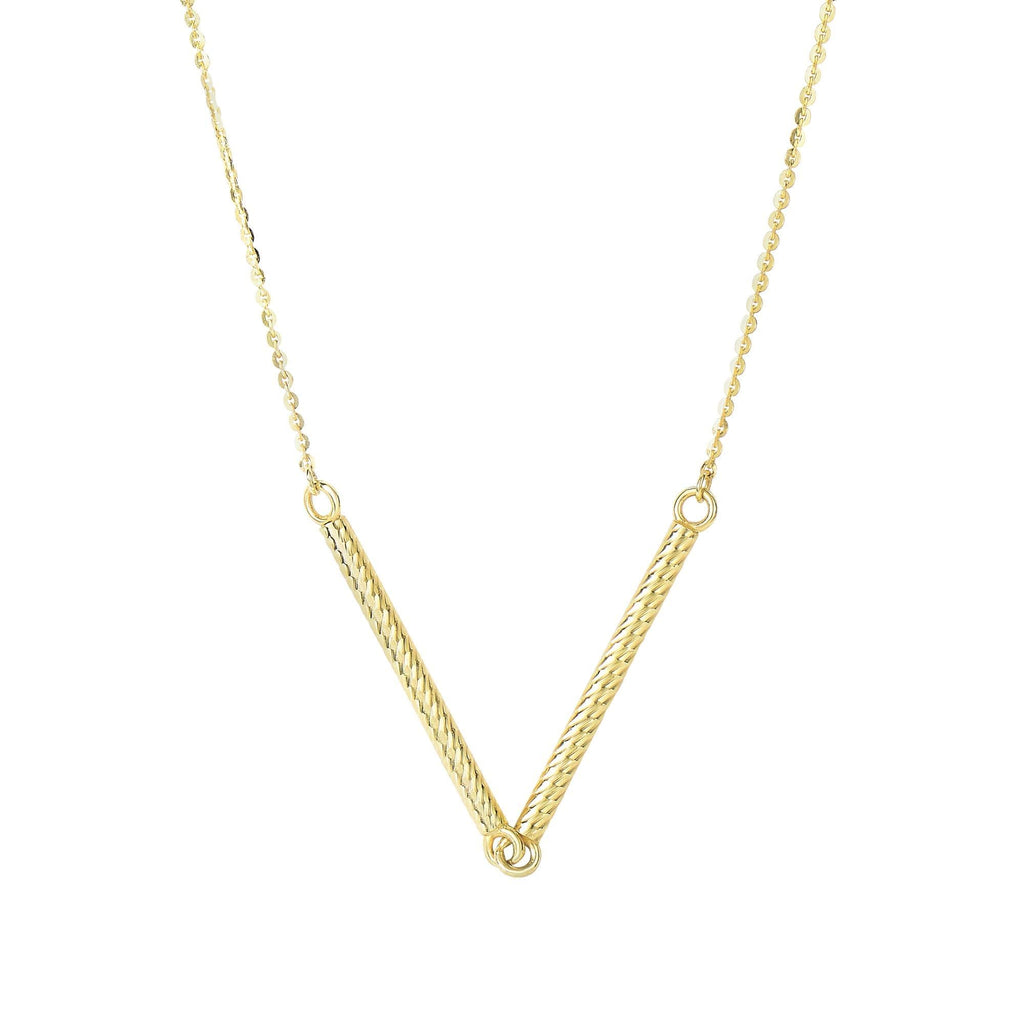14kt 18 inches Yellow Gold Shiny 2-1.7x25mm Long Textured Sideways Cylinder Shape Station On 0.87mm Diamon d Cut Cable Chain Type Necklace with Spring Ring C (5688355553435)