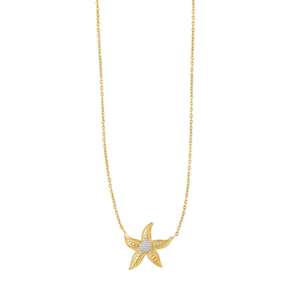 14kt 18 inches Yellow+White Gold Shiny Cable Chain with Lobster Clasp+Starfish Sea Life Necklace (5688354799771)